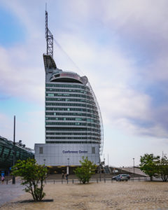 Atlantic Hotel Sail City, evening, Bremerhaven, Germany, Europe