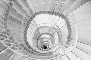 Architektur, Treppe, spiralförmig, schwarz-weiß
