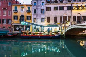 Kanal am Abend, Venedig, historisches Zentrum, Venetien, Italien, Norditalien, Europa