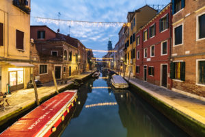 Canal in the evening, Venice, historical center, Veneto, Italy, northern Italy, Europe