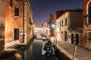 Canal at night, Venice, historical center, Veneto, Italy, northern Italy, Europe