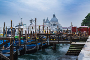 Gondolas, Santa Maria della Salute, Venice, historic center, Veneto, Italy, northern Italy, Europe