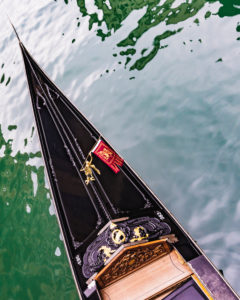 Top of a gondola from above, Venice, historical center, Veneto, Italy, northern Italy, Europe