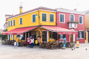 Burano, Venice, Island, Veneto, Italy, Northern Italy, colorful fishermen's houses, restaurant, Europe