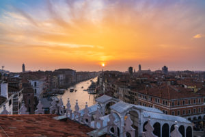Grand Canal, sunset, Venice, historic center, island, Veneto, Italy, northern Italy, Rialto, Europe