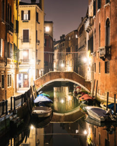 Canal at night, Venice, historic center, island, Veneto, Italy, northern Italy, Europe