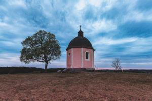 Blue hour, old mountain, chapel, Böttingen, Swabian Alb, Baden-Württemberg, Germany, Europe