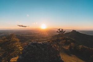 Zellerhorn, Zellerhornwiese, Burg Hohenzollern, Sonnenuntergang, Bisingen, Schwäbische Alb, Baden-Württemberg, Deutschland, Europa