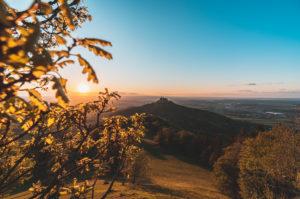 Zellerhorn, Zellerhornwiese, Hohenzollern Castle, sunset, Bisingen, Swabian Jura, Baden-Württemberg, Germany, Europe