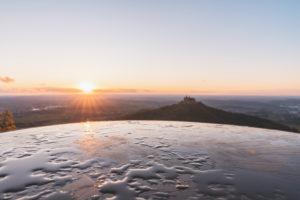 Panorama board, Zellerhorn, Zellerhornwiese, Hohenzollern Castle, sunset, Bisingen, Swabian Jura, Baden-Wuerttemberg, Germany, Europe