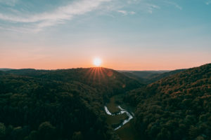 Großes Lautertal, Erbstetten, Ehingen, Baden-Württemberg, Deutschland, Europa, Sonnenuntergang