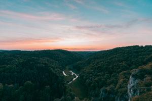 Großes Lautertal, Erbstetten, Ehingen, Baden-Wuerttemberg, Germany, Europe, sunset
