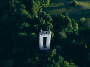 Schönbergturm Pfullingen, Pfullinger Onderhos, underpants, Schönberg, Pfullingen, Swabian Jura, Baden-Wuerttemberg, Germany, Europe, aerial view