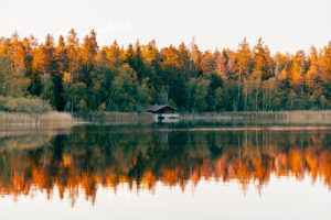 Haus am See, Schreckensee, Sonnenuntergang, Wolpertswende, Baden-Württemberg, Deutschland, Europa