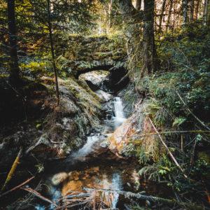 Steinbrücke, Edelfrauengrab-Wasserfall, Ottenhöfen, Schwarzwald, Baden-Württemberg, Deutschland, Europa