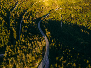 Black Forest high road, aerial view, in the evening, Black Forest, Baden-Wuerttemberg, Germany, Europe