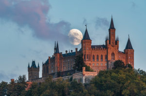 Moon, moonrise, Hohenzollern Castle, Swabian Alb, Baden-Wuerttemberg, Germany, Europe