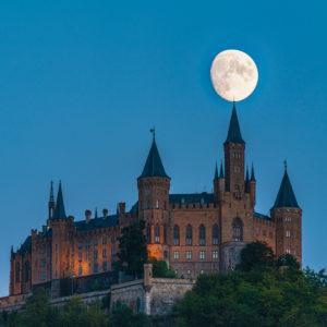 Moon, moonrise, Hohenzollern Castle, Swabian Alb, Baden-Wuerttemberg, Germany, Europe