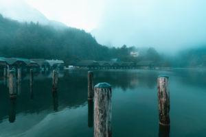 Koenigssee, shipyard of the Bayerischen Seen-Schifffahrt, fog, in the morning, Berchtesgadener Land, Berchtesgaden, Bavaria, Germany, Europe