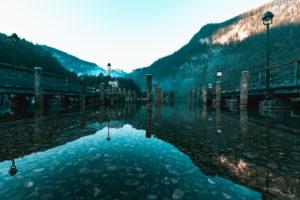 Koenigssee, jetty of the Bavarian lakes shipping, fog, in the morning, Berchtesgadener Land, Berchtesgaden, Bavaria, Germany, Europe