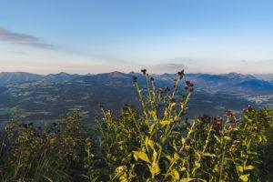 Sunset, mountains, Rossfeld Panorama, Rossfeld-Panoramastrasse, Berchtesgadener Land, Bavaria, Germany, Europe