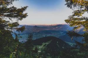Sunset, mountains, Rossfeld Panorama, Rossfeld-Panoramastrasse, Berchtesgadener Land, Bavaria, Germany, Europe
