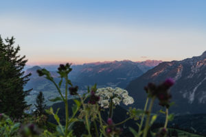 Sonnenuntergang, Berge, Rossfeld Panorama, Rossfeld-Panoramastraße, Berchtesgadener Land, Bayern, Deutschland, Europa