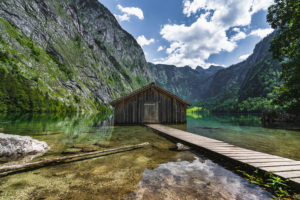 Boathouse with jetty, Obersee, Koenigssee, Berchtesgadener Land, Berchtesgaden, Bavaria, Germany, Europe