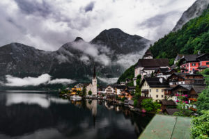 Hallstatt am Hallstätter See, Salzkammergut, clouds, fog, in the morning, Upper Austria, Austria, Europe