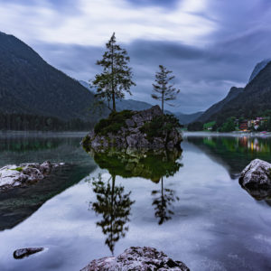 Hintersee, evening, fog, reflections in the water, Ramsau, Berchtesgadener Land, Berchtesgaden, Bavaria, Germany, Europe