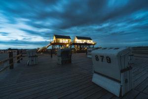 Strand, Strandkörbe, blaue Stunde, Sankt Peter-Ording, Nordsee, Schleswig-Holstein, Deutschland, Europa