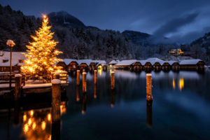 Merry Christmas at Königssee, idyllic with snow