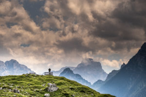 Germany, Berchtesgadener Land, alpine summer in Bavaria, Mordaualm, Almkreuz, mountain peaks, clouds