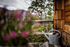 Urige Alm in den Alpen, Dekoration, Gießkanne, Blumen, Berchtesgadener Land, Bayern, Deutschland
