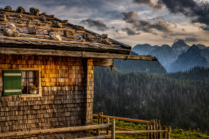 Germany, Bavaria, Berchtesgaden, Berchtesgaden Alps, mountains, alps, alpine hut, landscape, summer, mountain range, Watzmann, clouds,