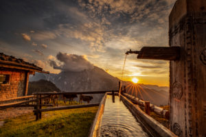 Germany, Bavaria, Berchtesgaden, Berchtesgaden Alps, mountains, alps, alpine hut, landscape, summer, mountain range, Watzmann, clouds, sunset