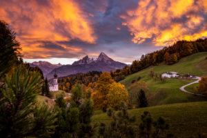 Idyllic mountain landscape in Bavaria, Berchtesgaden, Berchtesgadener Land, Upper Bavaria, Bavaria,