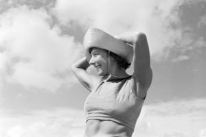 The popular dancer Gret Palucca on vacation on Sylt, Germany 1930s.