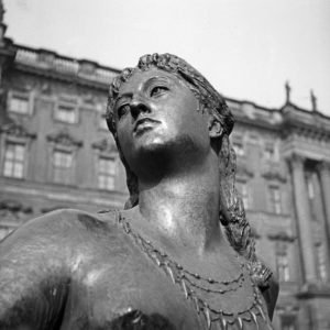 Detail of a sculpture at a fountain at Bremen, Germany 1930s.
