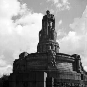 Bismarck monument at Hamburg, Germany 1930s.