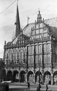 Strolling through the old city of Bremen, Germany 1930s.