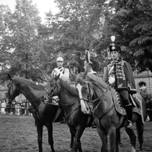 Amateur actors on horses wearing uniforms of the German Kaiserreich era, Germany 1930s.