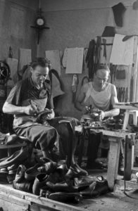 Shoemaker at work, Germany 1940s.