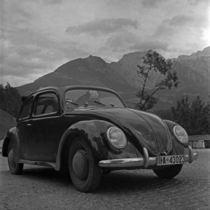"Travelling by car in the Volkswagen beetle, or ""KdF car"", Germany 1930s."