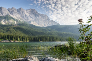 Germany, Bavaria, Bavarian alps, Grainau, view about the Eibsee on the Zugspitze in the last evening light