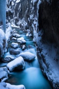 Germany, Bavaria, Bavarian alps, Garmisch-Partenkirchen, Partnachklamm in winter