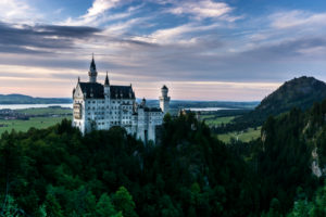 Germany, Bavaria, Bavarian alps, Allgäuer alps, Füssen (town), evening mood at the Castle Neuschwanstein