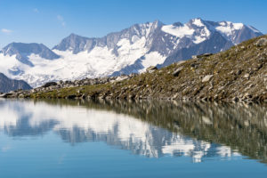 Austria, Tyrol, Zillertal, Mayrhofen, reflection of the Hochfeiler and the surrounding peaks in Friesenbergsee in the Zillertal Alps