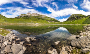 Austria, Vorarlberg, Lechquellen Mountains, Dalaas, panorama of the Formarinsees with the Rote Wand in the background