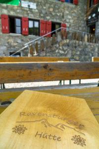 Austria, Vorarlberg, Lechquellen Mountains, Dalaas, Ravensburger Hütte, menu on the terrace of the , Ravensburger Hütte